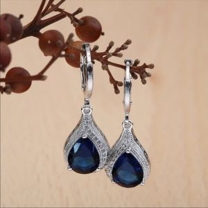 💞SILVER PLATED SIMULATED SAPPHIRE EARRINGS